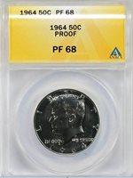 1964 KENNEDY SILVER PROOF HALF DOLLAR 50c ANACS PF68