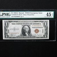 $1 1935A Hawaii-WWII Emergency Issue Silver Cert., Fr # 2300 PMG 45 EPQ