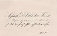 WILHELM TINTER Famed Astronomer holographed note on his visiting card 1892