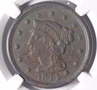 1844 Braided Hair Cent NGC AU Details