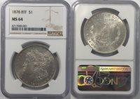 1878 8TF $1 Morgan Dollar NGC MS64