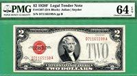 1928F $2 United States Note - PMG CU 64 with EPQ - Fr 1507 DA block- 1928 F