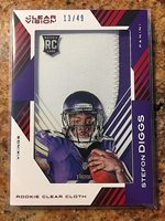 2015 Panini Clear Vision Stefon Diggs Rookie Clear Cloth Patch RC 13/49 Vikings