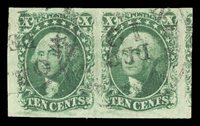 14 Horizontal pair with cds cancels. XF/Superb. Especially well margined including some of the next stamp at right. Good color. 1992 PFC $600.00