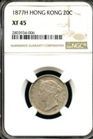 Hong Kong 1877 H; Heaton Mint; Silver 20 Cents; Queen Victoria; Scarce date; NGC graded XF-45