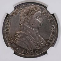 NGC-AU58 1810SO FJ CHILE 8REAL SILVER WELL STRUCK TONING
