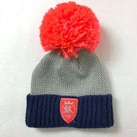 REAL SALT LAKE BIG-OVERSIZED-POM BEANIE winter knit ski hat coral pink gray navy