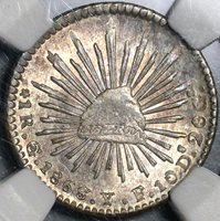 1868/7-Go NGC MS 64 Mexico 1 Real Silver Mint State Overdate Coin (21022102C)