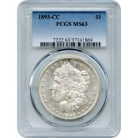 1893-CC $1 Morgan Silver Dollar PCGS MS63