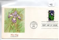 United States (93) FDC - Thematics - 1992 - Flowers - Blue Flag - Connecticut