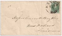 CSA #1 Stone 1 (not plated) (margin touches at the right but with a small sheet margin on the left) tied by a fully strike of the brownish Osyka, MissCDS 7 FEB (1862). From the Carroll, Hoy & Co., New Orleans,Louisiana correspondence with the usual filing pinholes. Very cleancover.