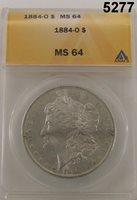 1884 O MORGAN SILVER DOLLAR ANACS CERTIFIED MS64 ORIGINAL FROSTY! #5277