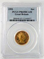 GREAT BRITAIN SOVEREIGN 1991 PCGS PR65DCAM CERTIFIED ENGLISH GOLD GEM BRILLIANCE
