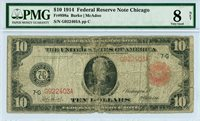 Fr 898a $10 1914 Large Size Federal Reserve Note Chicago PMG Fine 8 NET