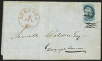 "1c Blue, Ty. II (7). Plate 1E, margins to in at left where surface slightly peeled, tied by pen cancel, red ""Augusta Me. 2 Jul. (1851)"" circular datestamp on National Loan Fund Life Assurance Society folded circular addressed to Georgetown, stamp very slightly moved from its original location, a rare second day use of the 1c 1851 Issue, the stamp was most likely purchased in Boston on July 1 and carried to Augusta Maine, accompanied by letter of authentication from Stanley B. Ashbrook"