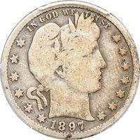 1897-S Barber Quarter G 6 CAC, PCGS 25c C00051388