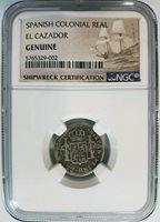 1783 Silver Real El Cazador NGC Shipwreck Treasure Spanish Pillar Shield Coin