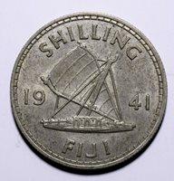 1941 Fiji One 1 Shilling - George VI - Lot 661 Key Date