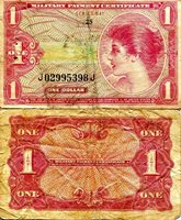 """USA - Military 1 Dollar Pick #: m61 1965 VG/G (see large scan)Other Series 641 Red WomanNote 4 1/4"""" x 2 1/2"""" North and Central America None Discernible"""