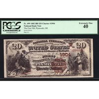 FR 499 $20 1882 Brown Back National Bank Note PCGS 40