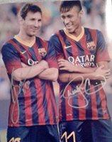 Neymar & Lionel Messi Autographed 8x10 Photograph