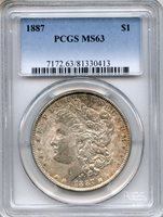 1887 Morgan Silver Dollar PCGS MS63 ~ $1 (81330413)