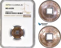 AC932, French Cochin-China, 2 Sapeque 1879-A, Paris, NGC MS64BN