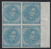 CSA #7 Block of 4 on London PaperUNUSED(4-Margin with right sheet margin) filled-in frames at the right OGwith top two stamps Hinged. Pencil notations on the reverse identifiesthe stamps as from Positions 49-50, 59-60.