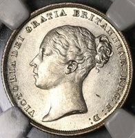 1839 NGC AU 58 Victoria Shilling with WW Great Britain Silver Coin (16032501D)
