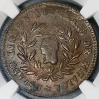 1859 NGC MS 62 Sinola Mexico 1/4 Real Copper Coin POP 2/0 (18090305C)