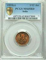 1932 C British India 1/12 Anna, PCGS MS 65 RD, Red, 899