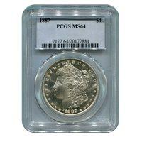 Certified Morgan Silver Dollar 1887 MS64 PCGS