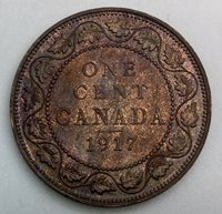 Canada 1917 George V Large Cent Lustrous Brown Some Red Toned Coin