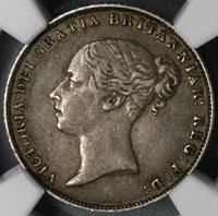 1863 NGC AU 50 Victoria Silver 6 Pence Key Date GREAT BRITAIN Coin (17071704C)