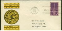 852 GOLDEN GATE FDC SAN FRANCISCO, CA 2/18/39 PLANTY 852-30 LINPRINT CACHET