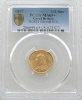 1887 British Queen Victoria Jubilee Head Gold Half Sovereign Coin PCGS MS65+