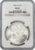1885 CC Morgan Silver Dollar NGC MS65