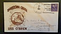1940 USS OBrien To Baldwin NY Shakedown Cruise Illustrated Naval Cover
