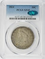 1824 Capped Bust Half Dollar PCGS XF-45 O-117, CAC
