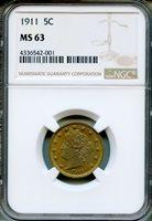 1911 Liberty Nickel NGC MS63 ~ 5c (4336542-001)