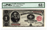 1891 $1 United States Treasury Note, PMG Choice Uncirculated 63 EPQ, Y00006323