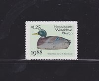 State Hunting/Fishing Revenues - MA - 1988 Duck Stamp MA-15 ($1.25) - MNH