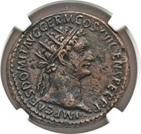 """DOMITIAN - NGC XF 4/5 2/5 """"Fine Style"""" HUGE AE DUPONDIUS - 27mm - CENTERED - 032"""