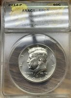 2014 - D Kennedy Half Dollar - ANACS Certified SP69 High Relief V-462
