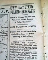 WARSAW GHETTO UPRISING ENDS w/ Jews Jewish Massacre 1943 World War II Newspaper