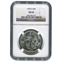 Certified Walking Liberty Half Dollar 1942-S MS64 NGC