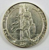 GREAT BRITAIN 1907 SILVER FLORIN EDWARD VII AU CONDITION .3364 OZ. .925 SILVER