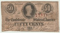 CONFEDERATE AWESOME RADAR SERIAL # 11311 on WELL CIRCULATED 1863 CSA 50¢ NOTE