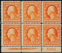 Scott 379, F-VF LH, PB/6 star plate, 1911 6c red orange