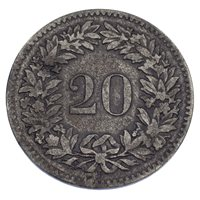 1851-BB Switzerland 20 Rappen Billon KM #7 VF Condition